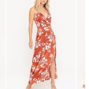 Lush floral satin maxi dress